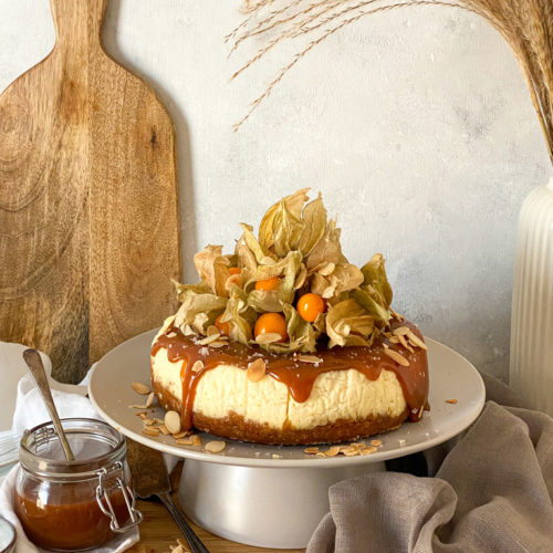 Instant Pot Cheesecake with Salted Tahini Caramel & Gooseberries